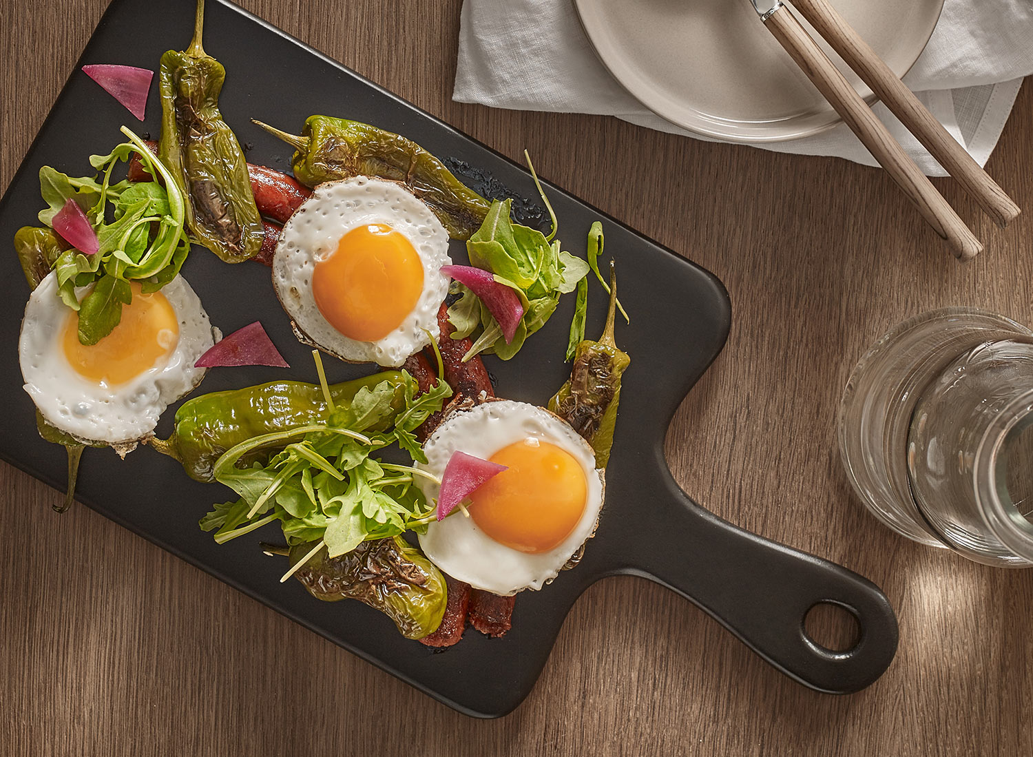Oeuf frit Xistorra Recette plancha